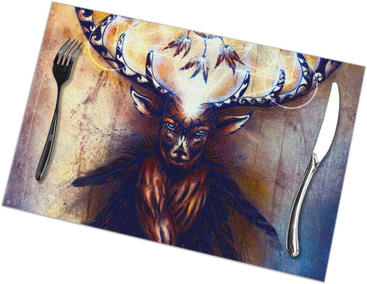 Dingl Sagrado Deer (2) Mantel individual lavable antideslizante para cocina, mesa de comedor, fácil de limpiar, 12 x 18 pulgadas, juego de 6