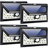 URPOWER Solar Lights Outdoor, Upgraded 3 Modes Wide Angle Solar Lights Wireless Solar Motion Sensor Light Outdoor Waterproof Solar Security Light for Garden, Patio, Garage, Yard (4 Pack-Cool White)