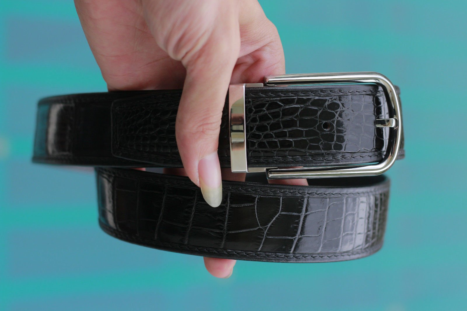 Black Genuine Crocodile Leather Belt - Without Buckle