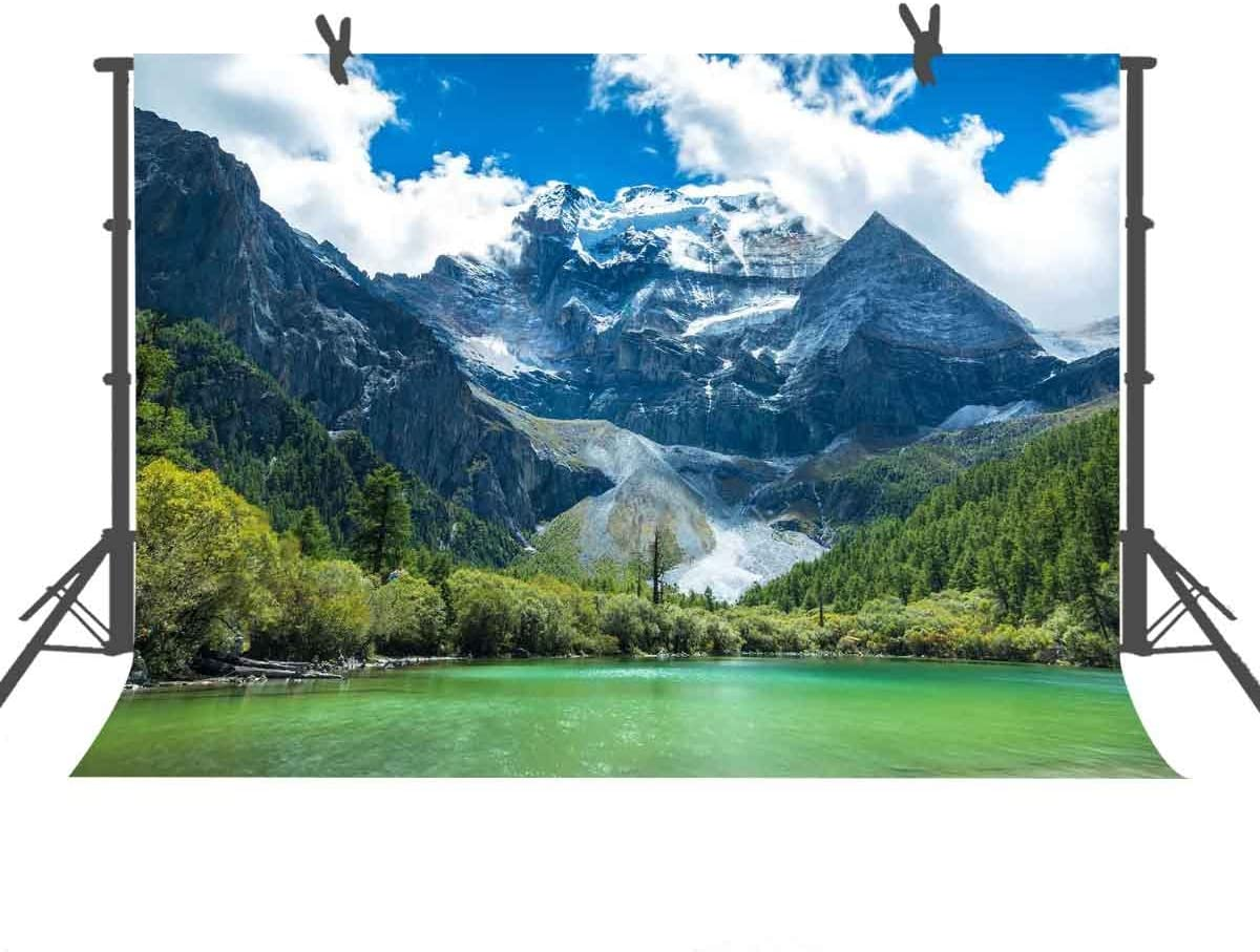 FUERMOR Lake Backdrop 7x5ft Photography Background Green Mountains Clear Lake Trees Nature Scenery Blue Sky Travel Portraits Children Photographic Props LXFU235