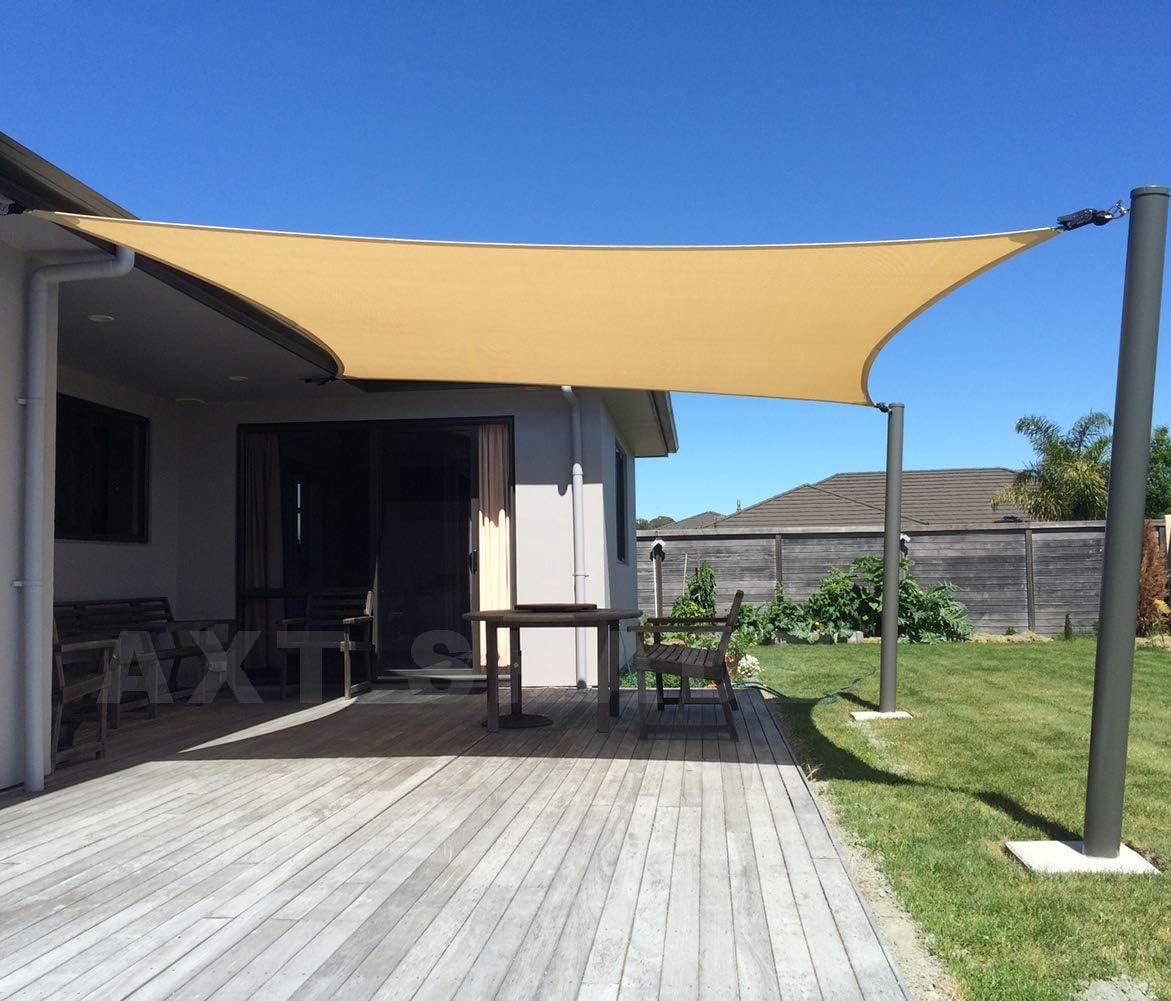 AXT SHADE Toldo Vela de Sombra Rectangular 4 x 6 m, protección Rayos UV y HDPE Transpirable para Patio, Exteriores, Jardín, Color Arena
