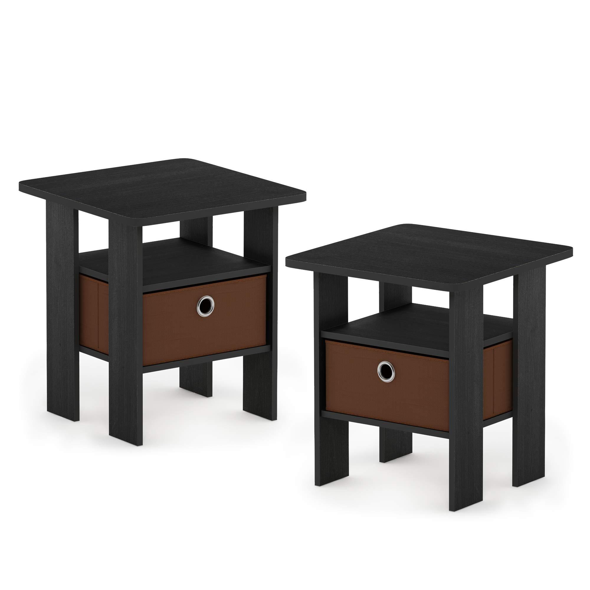 Furinno 2-11157AM Andrey 2-Pack Bin Drawer End Table Nightstand, Americano/Medium Brown