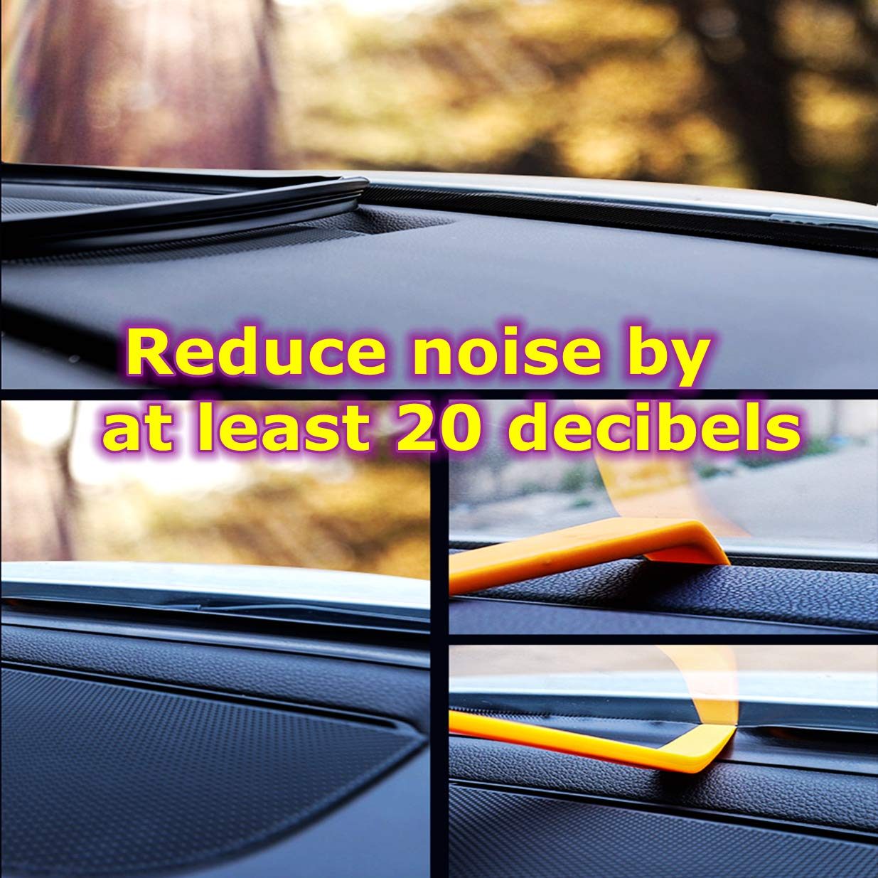 5.24Ft(160cm) Edge Trim Black Rubber Seal Protector Guard Strip for The Space Between Dashboard and Windshield of Cars-Keep the car clean and quiet Huole2