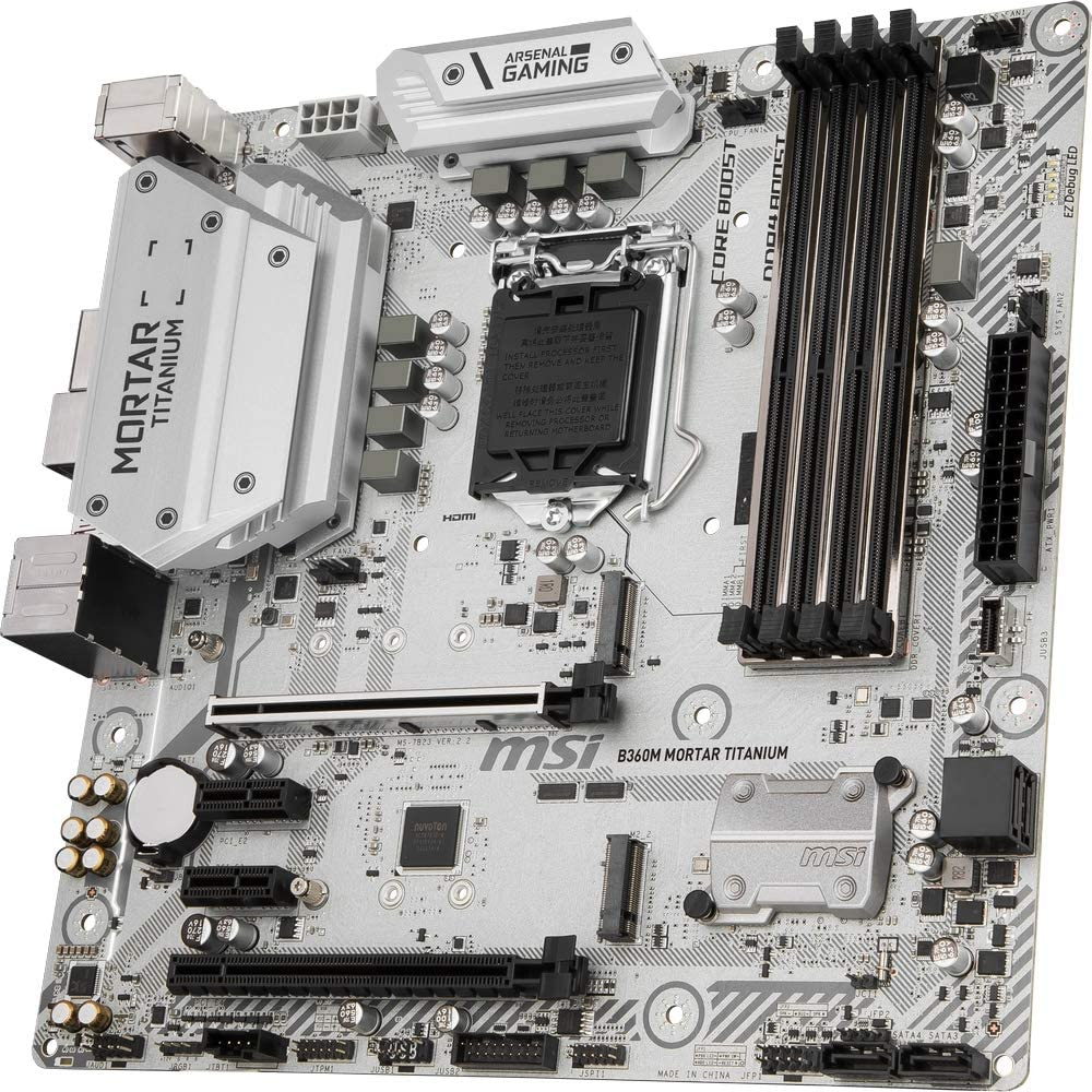 Placa Base Arsenal Gaming Blanco MSI B360M Mortar Titanium LGA 1151, 2 x PCI-E 3.0 x 16 Slots, 4 DIMMS, 4 x SATA