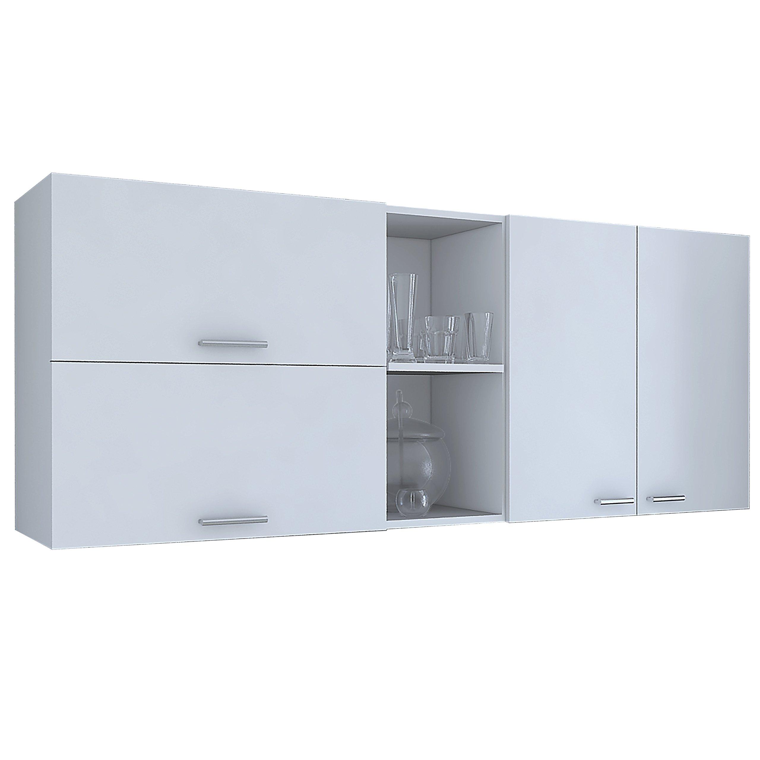 RTA Design Oprah Collection Wall Cabinet 3 Doors, Inside Shelves, 2 Outside Shelves (White, 150 cm, 1 Unit).