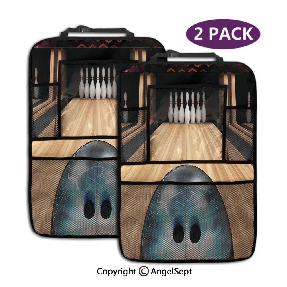 Kick Mats Car Back Seat Protector,Ball Rolling on Wooden Lane Activity Competition Challenge Multicolor,19.3x27.2inch,Storage Pockets for Toys Book Bottle Drinks(2 Pack) by RWNFA