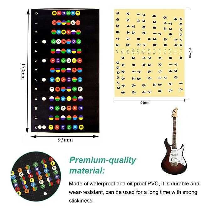 YoungRich 2Pcs Pegatina guitarra Eléctrico Nota, Diapasón de Guitarra Nota Adhesivos de Nota Diapason de Guitarra para Practica de Aprendiz Principiante ...