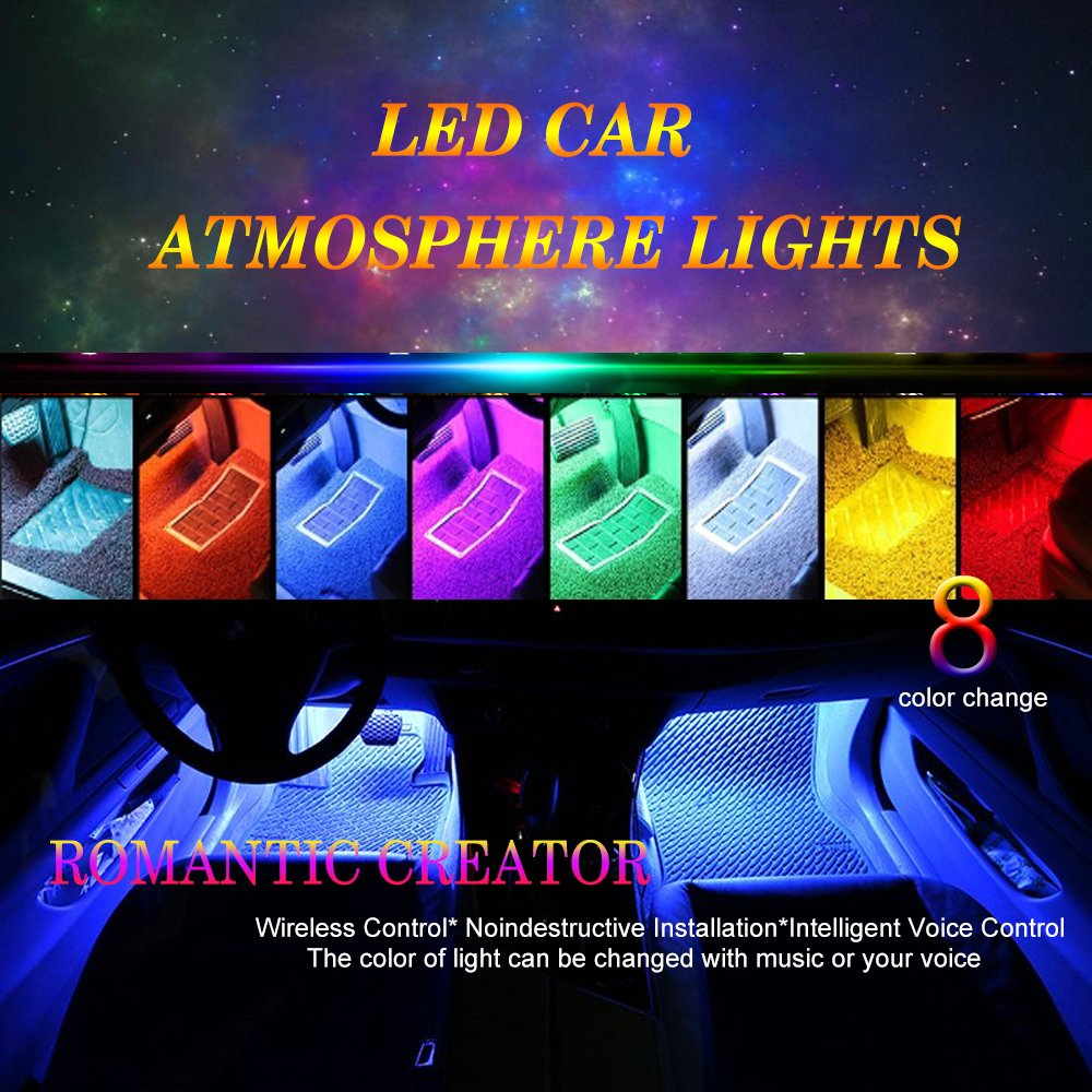 Car atmosphere LED Strip Light, 4pcs RGB 48 LED Multicolor Music Car Interior Lights Under Dash Lighting Waterproof Kit with Sound Active Function and Wireless Remote Control, Car Charger Included, DC 12V Shenzhenshi tuobinuo keji youxian gongsi