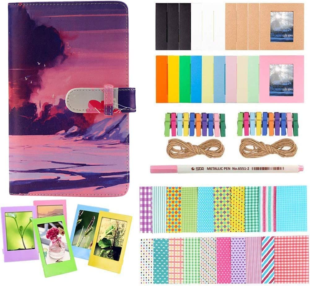 Anter Photo Album Accessories Compatible for Fujifilm Instax Mini Camera, HP Sprocket, Polaroid Zip, Snap, Snap Touch Printer Films with Film Stickers, Album & Frame - 108 Pocket,Sunset