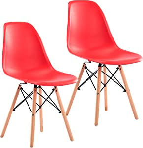 Porthos Home Dining Chair Set of 2 Stylish, Modern Dining Chairs in Red with Flattering Beech Wood Legs, Great Designer Side Chairs for Home or Business, Size 32 x 18 x 21 inches Modern Style