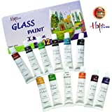 12 Colors Stain Glass Paint for Glass Crafts Water-Based Glass Color with Non-Toxic Tempera Paint for Wine Glass, Glass Painting Supplies for Porcelain, Glass, Stone, Plastic, Metal, Wood(12ml)