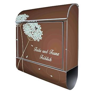 banjado Briefkasten aus Edelstahl mit Motiv WT Gartenzaun