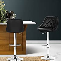 Artiss 2 Pcs Bar Stools ELAN Swivel Leather Gas Lift Kitchen Breakfast Counter Chairs, Black