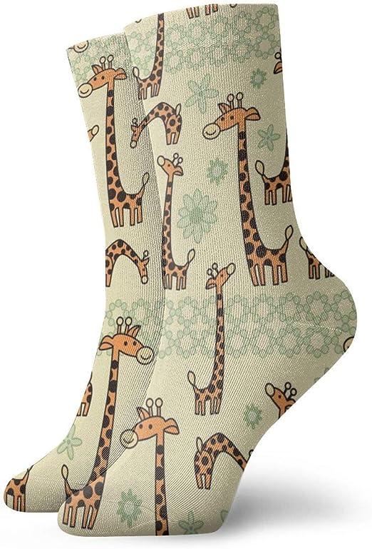 Cartoon Giraffe Fashion Dress Socks Short Socks Leisure Travel 11.8 Inch