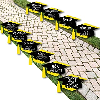 product image for Yellow Grad - Best is Yet to Come - Grad Cap Lawn Decorations - Outdoor Yellow Graduation Party Yard Decorations - 10 Piece