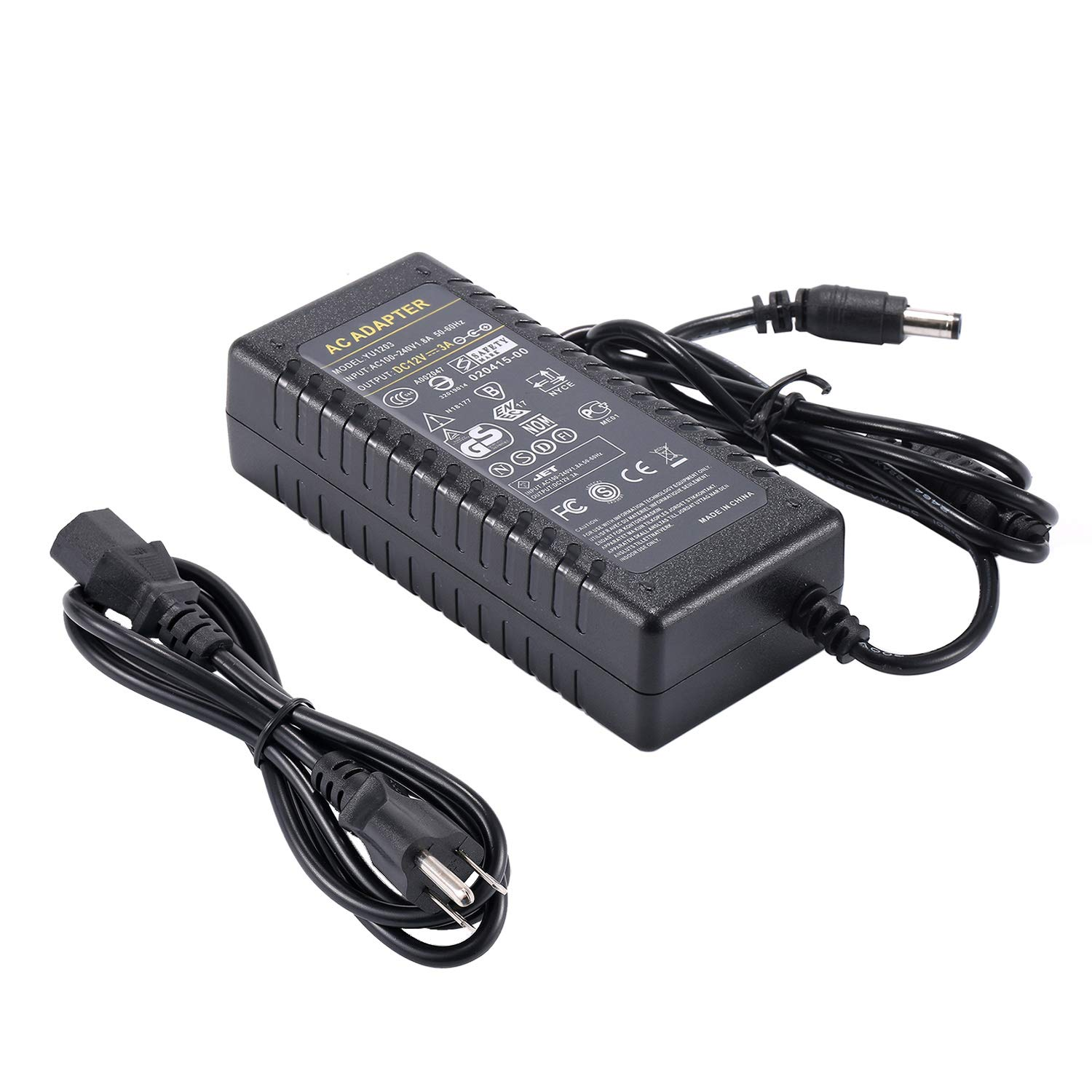 COOLM AC DC Adapter 100-240V to DC 12V 3A LED Power Supply US Plug 5.5x2.5 DC Jack for Security Monitoring System, LED Strips HUAPU YU1203