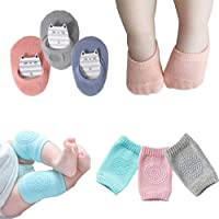 Baby Crawling Anti-Slip Knee Pads and Anti Slip Baby Socks Best Infant Gift,Unisex Baby Toddlers Kneepads 3 Pairs, Soft…