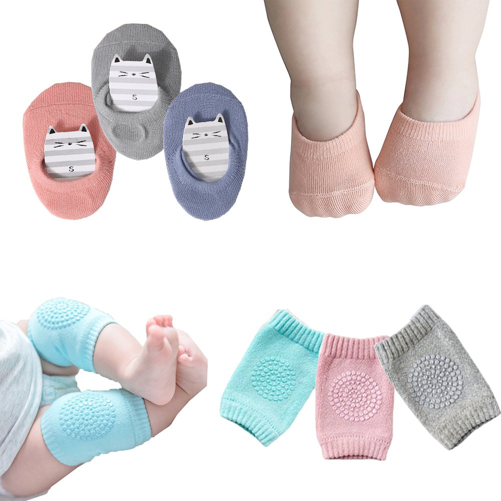 Baby Crawling Anti-Slip Knee Pads and Anti Slip Baby Socks Best Infant Gift,Unisex Baby Toddlers Kneepads 3 Pairs, Soft Cotton Boys Girls Grip Walkers Socks 3 Pairs(Kneecaps and socks)