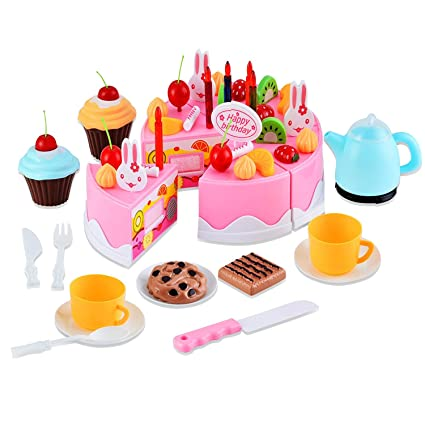 Toyshine 54 Pcs DIY Fruit Birthday Cake Pretend Play Kitchen Toy Assorted Color