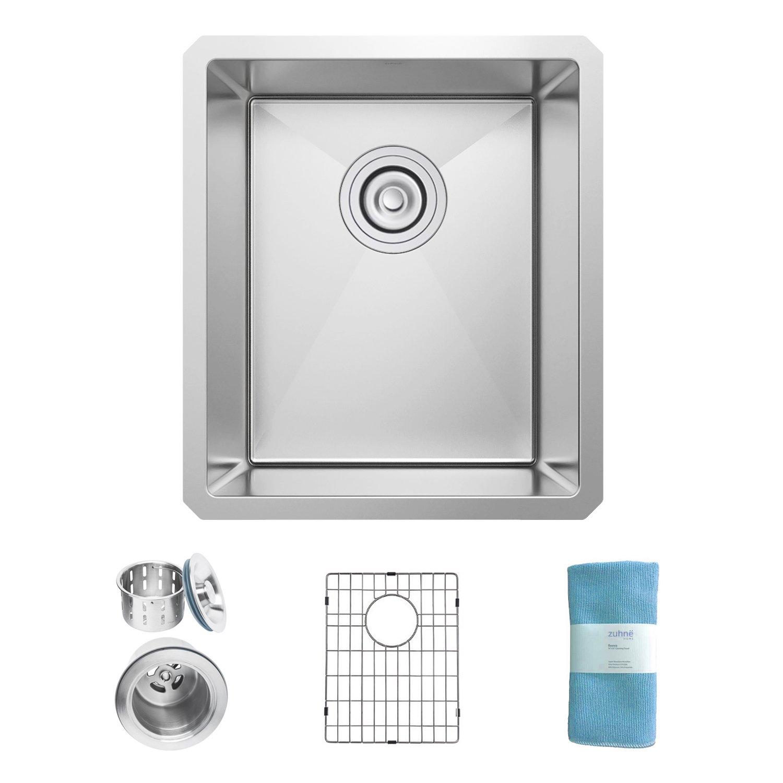 Zuhne Modena Undermount Single Bowl 13 x 15 Inch 16 Gauge Stainless Steel Kitchen Sink, Bar or Prep Kitchen Sink