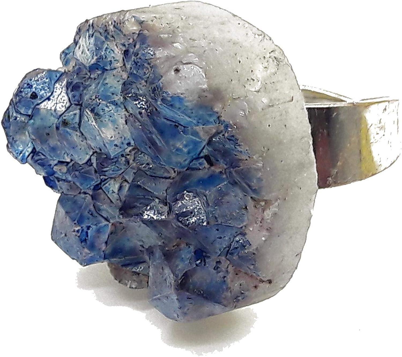 El Coral Anillo Geode Amatista Azul 27mm. Plateado Ajustable