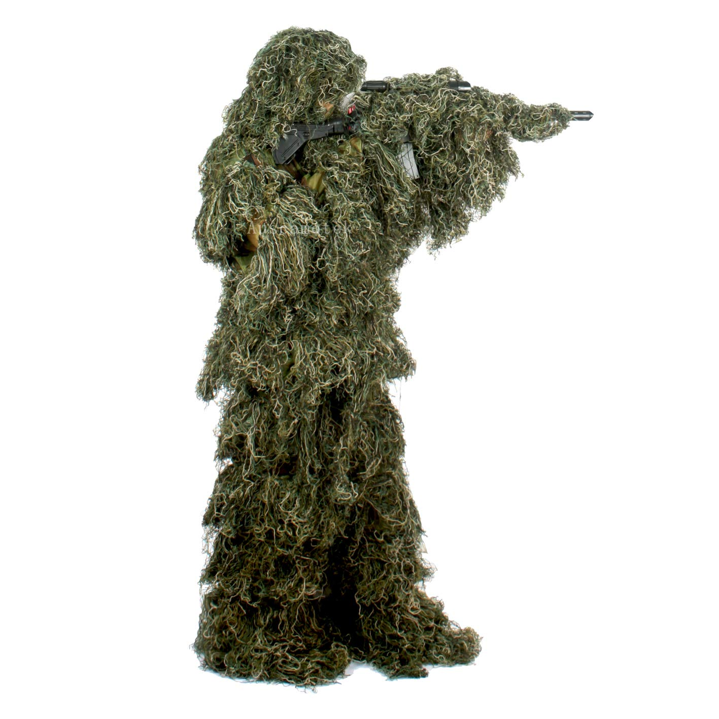 Auscamotek Gilly Suit for Men Ghillie Suit for Hunting XL XXL Green Hood Rifle Wrap Included by Auscamotek