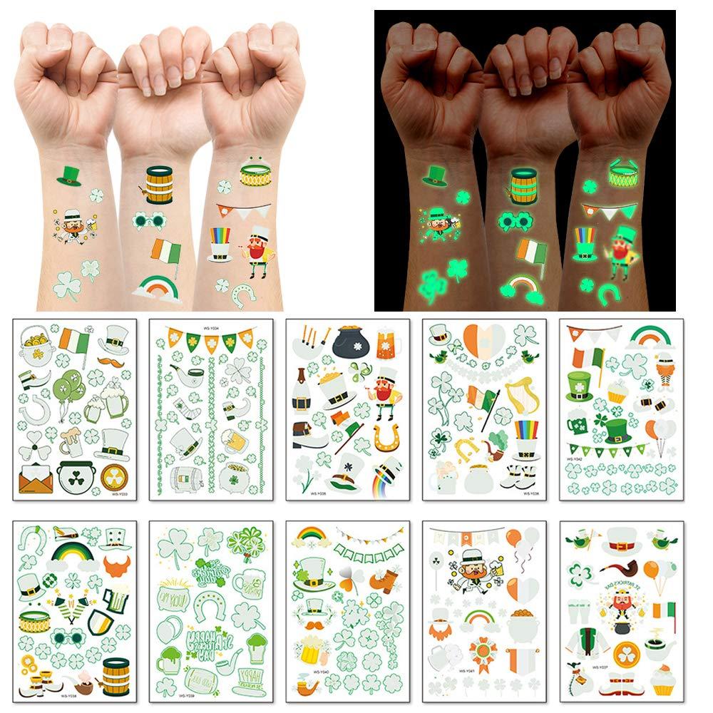 St Patricks Day Temporary Tattoos, 10 Sheets Glow Saint Patricks Day Accessories Decorations for Boys and Girls, Irish Shamrock Luminous Stickers