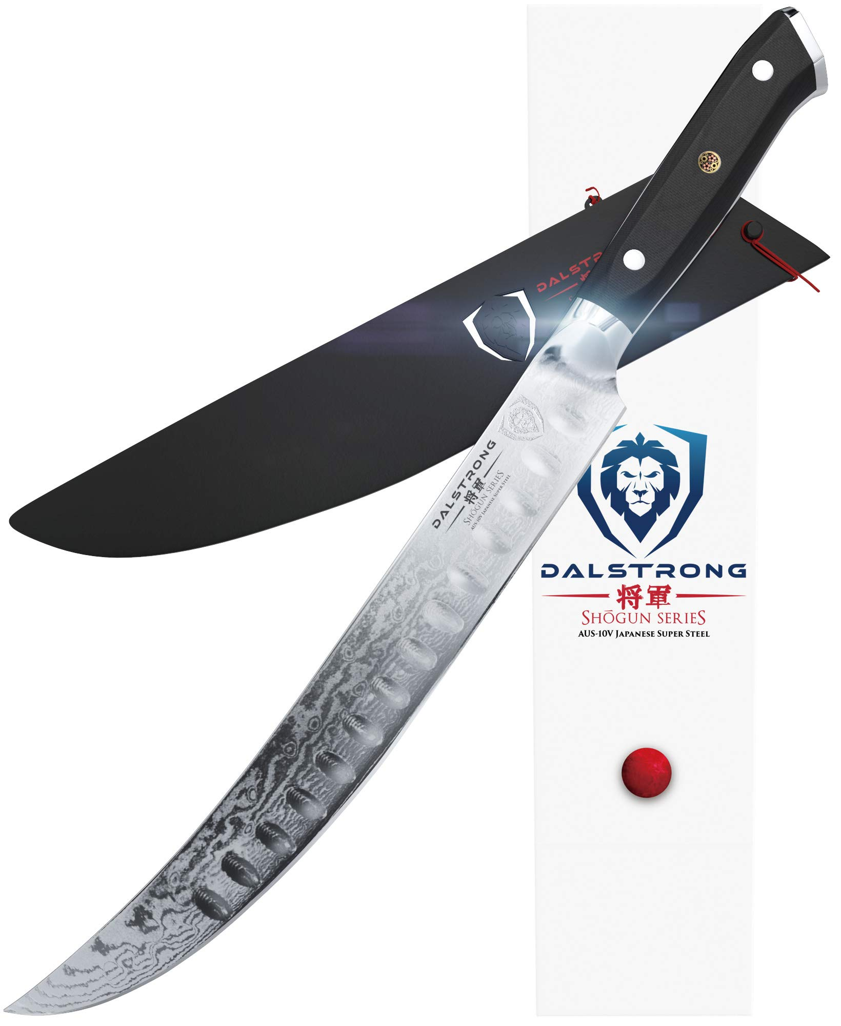 DALSTRONG Butcher's Breaking Cimitar Knife - 10'' - Shogun Series Slicer - Damascus - Japanese AUS-10V Super Steel - Vacuum Treated - Guard Included by Dalstrong
