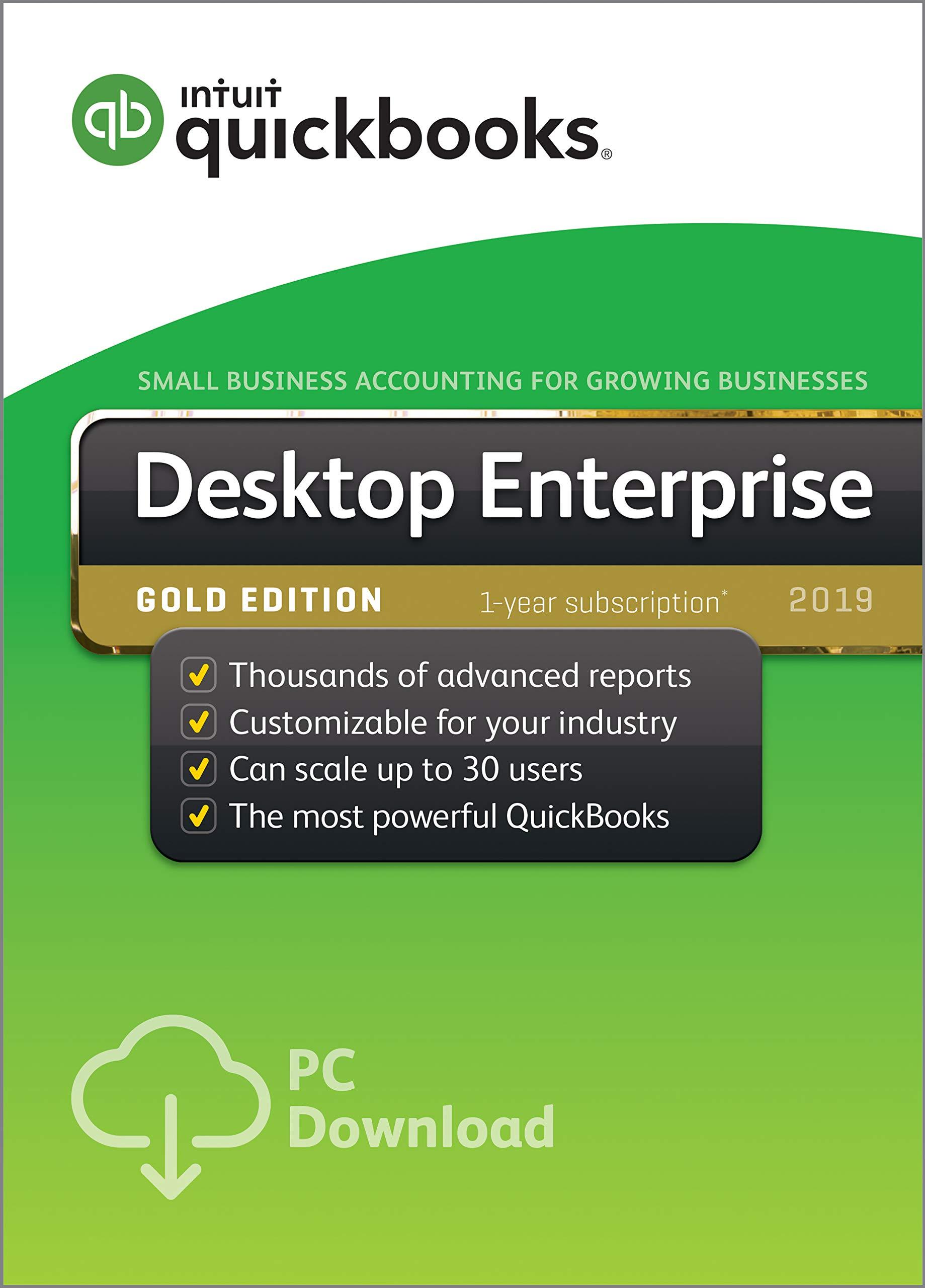 QuickBooks Desktop Enterprise Gold 2019,1 user, 1 Year Subscription [PC Download] by Intuit