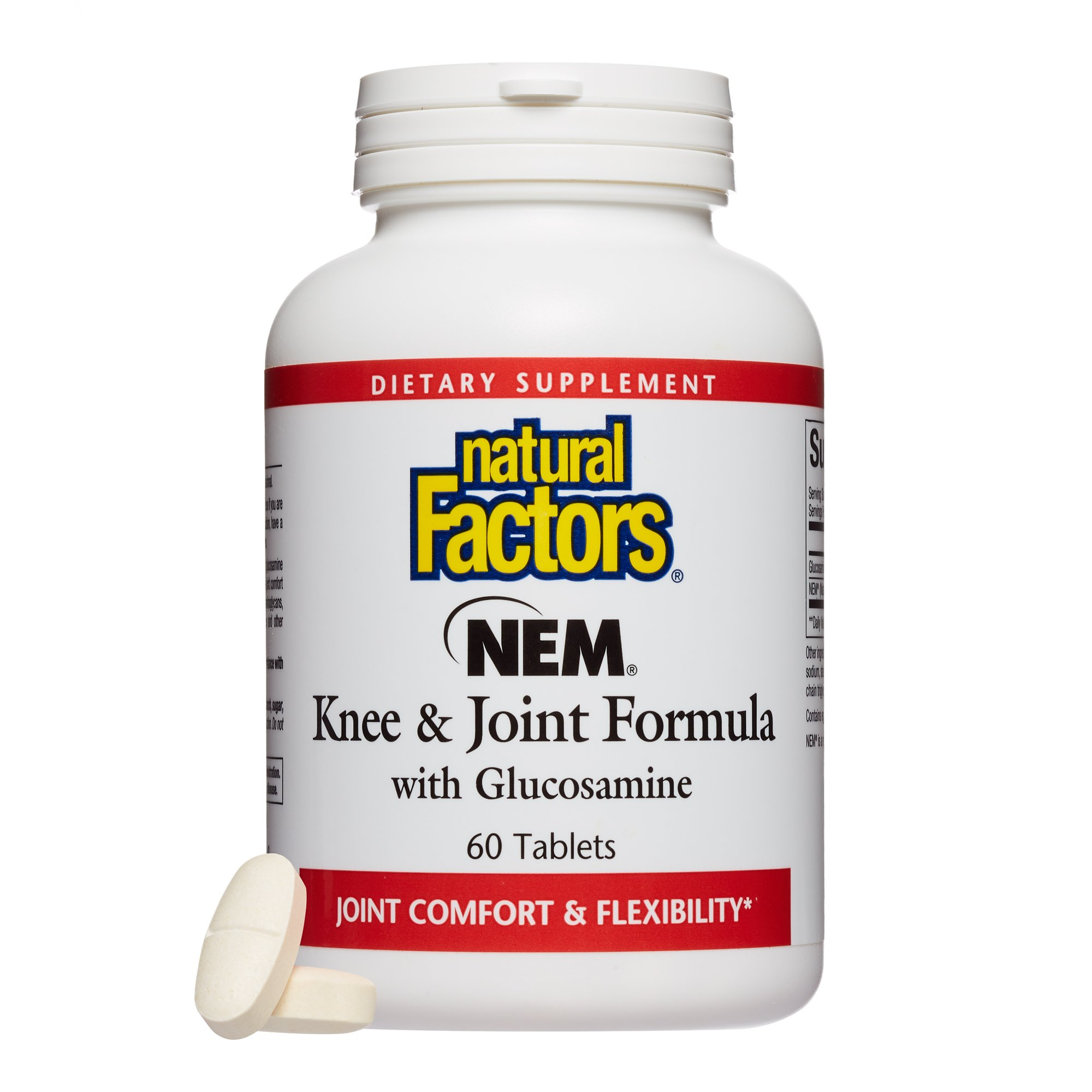 Natural Factors - NEM Knee & Joint Formula with Glucosamine, Promotes Joint Comfort, Flexibility & Mobility, Gluten Free, 60 Tablets