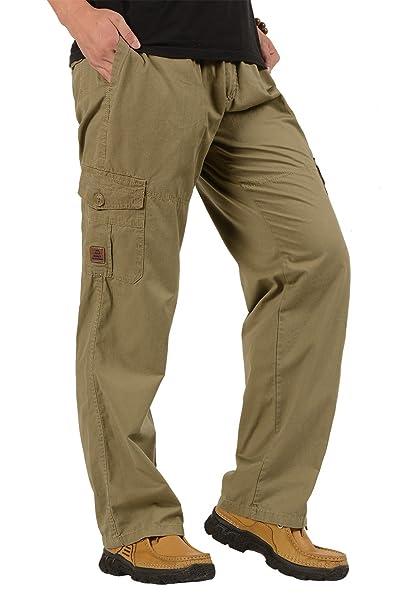 b2a9dbbcf650 CardanWolf - Uomini Pantaloni da Lavoro Stile Cargo Cintura Elastica Cotone  Outdoor Sport Casual Multitasche - 4XL - Cachi: Amazon.it: Abbigliamento