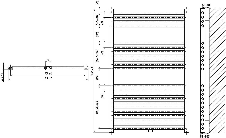 Heizk/örper Badheizk/örper Handtuchw/ärmer gerade anthrazit mit Mittelanschluss 50 mm alle Gr/ö/ßen 717 Watt nach EN442