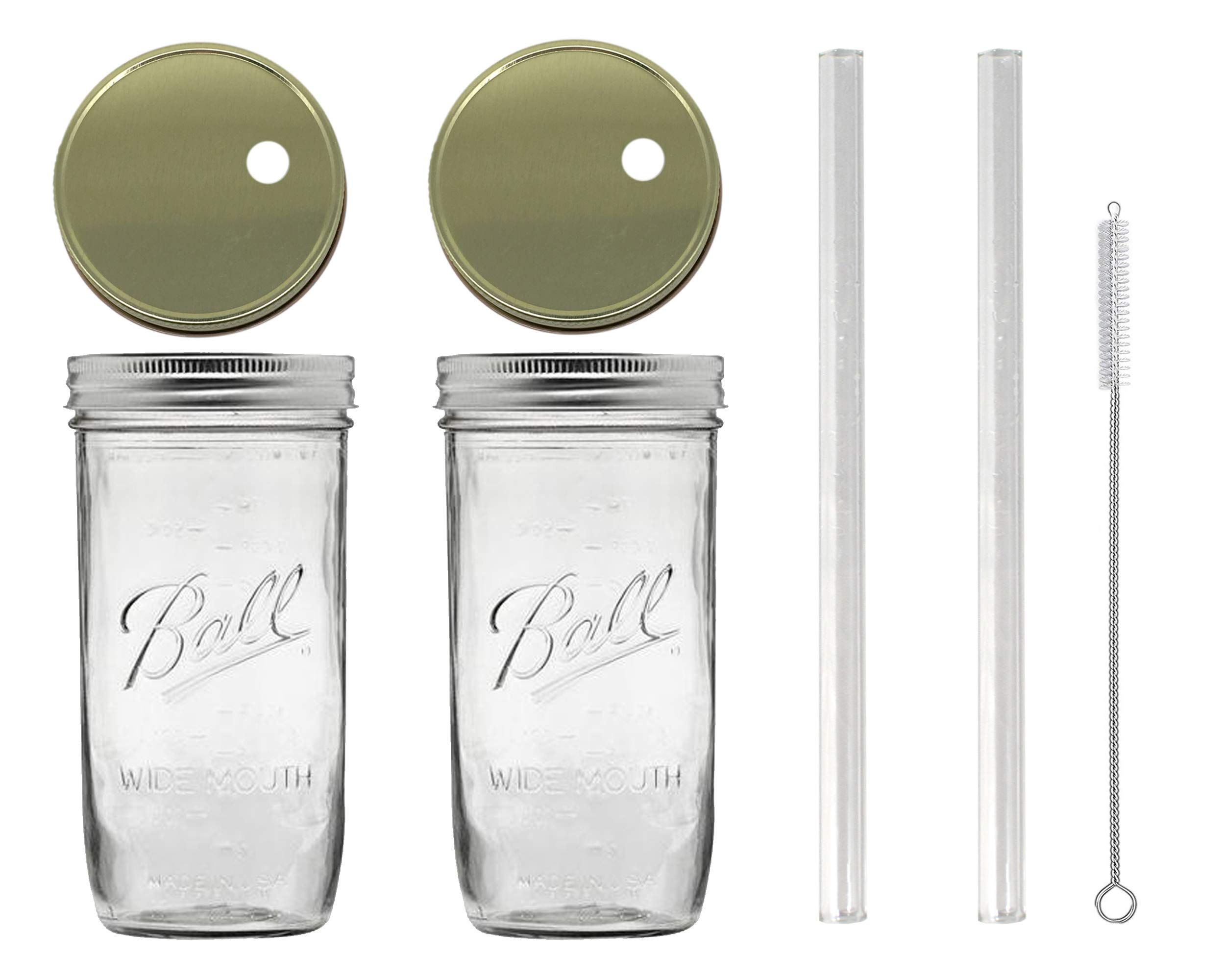 Glass Mason Drinking Jars with 2 Gold Lids, 2 Glass Straws (10''x 9.5mm) and 1 Straw Cleaner (24oz wide mouth, gold) (2)