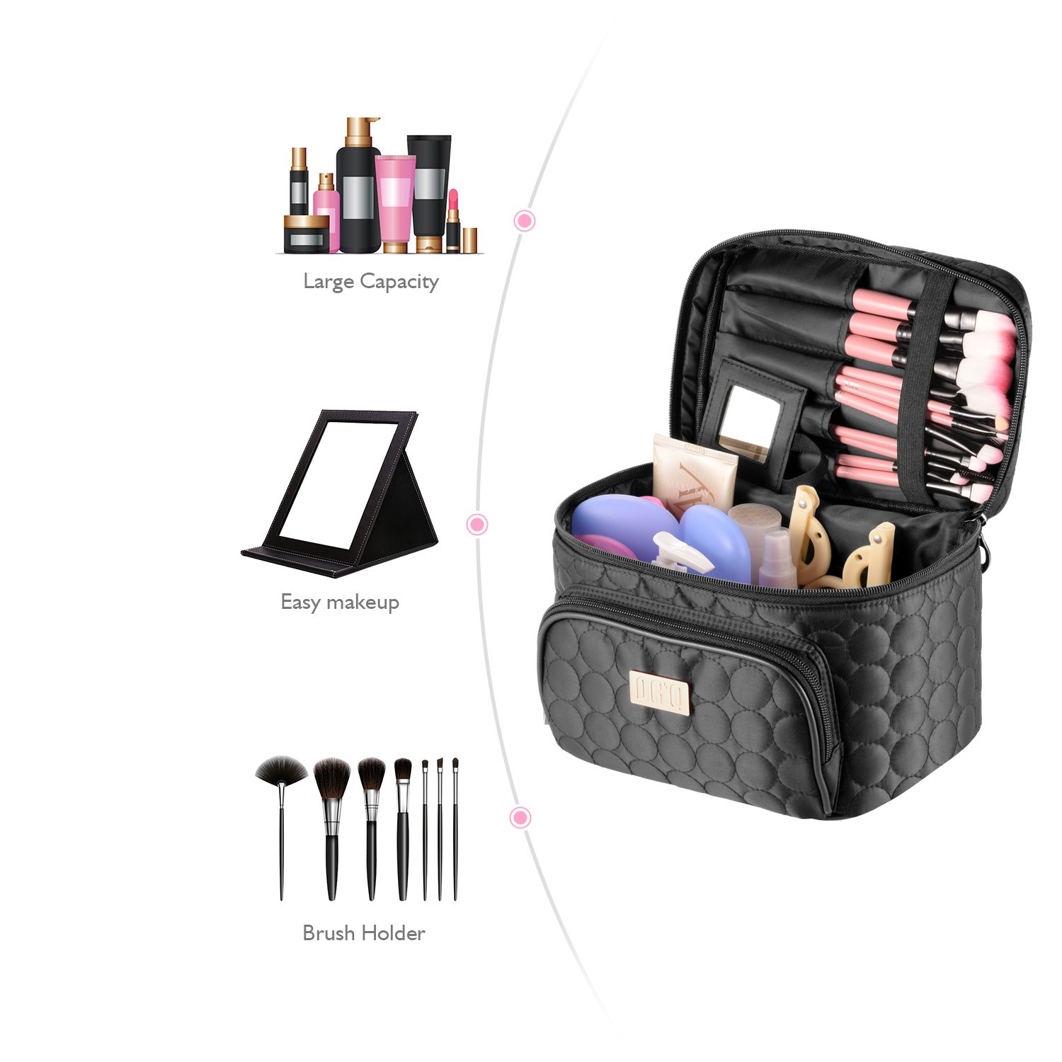 Travel Makeup Bag with Mirror-Multifunction Portable Toiletry Bag Large Cosmetic Pouch