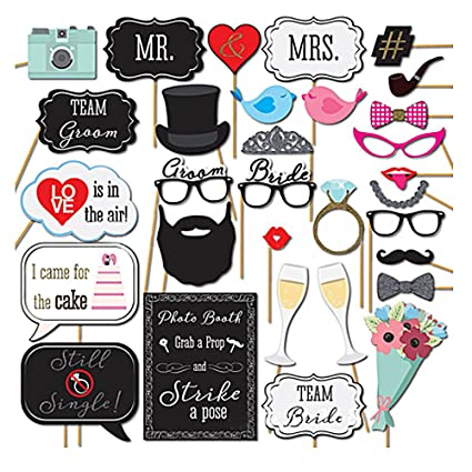 54 pcs Funny Wedding Photo Booth props Kit Photobooth Prop ...