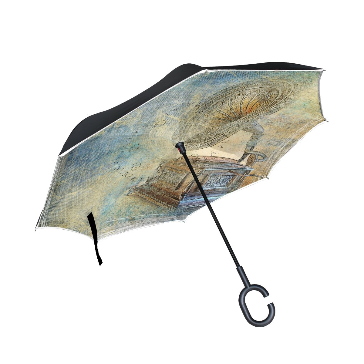 TIZORAX vintage Gramophone inversé double couche droites parapluies sur l'envers réversible Parapluie avec poignée en forme de C pour la pluie Soleil de voiture Utilisation