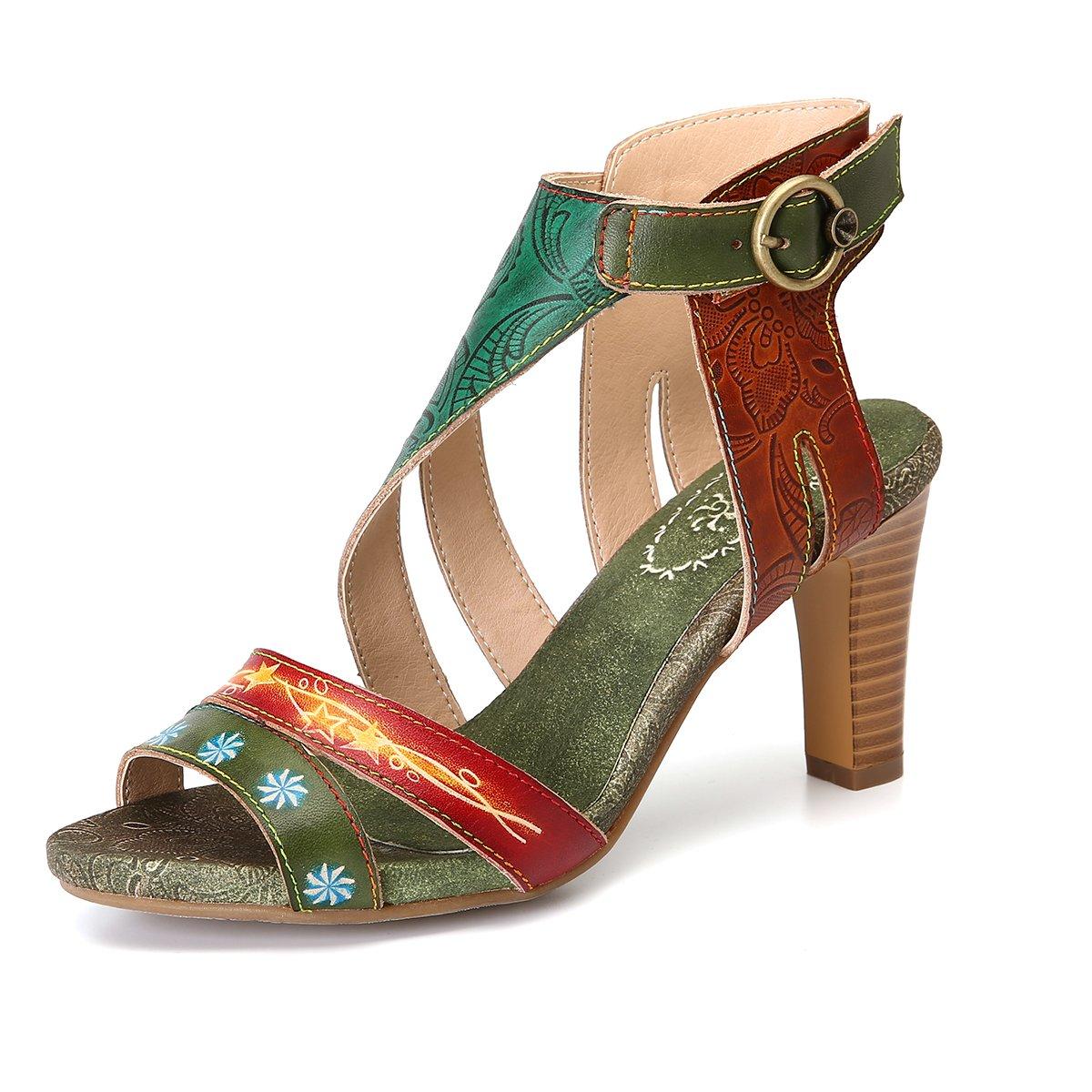 Green gracosy Heel Sandals, Women Leather Sandals Summer Dress Sandal Handmade Comfort Heel Wedding Party shoes