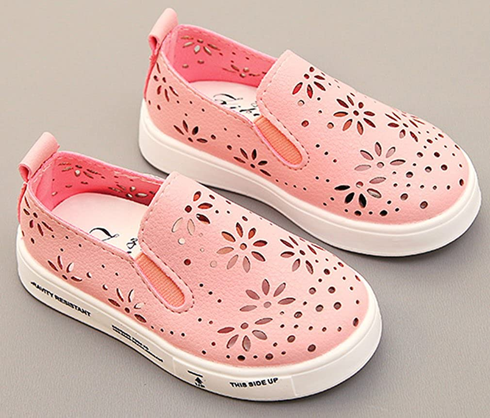 VECJUNIA Girls Fashion Cut Out Flower Comfy Anti-Skid Low Top Flat Loafer Shoes