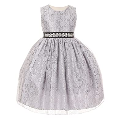 Amazon cinderella couture girls silver lace taffeta jeweled cinderella couture girls silver lace taffeta jeweled belt flower girl dress 8 mightylinksfo