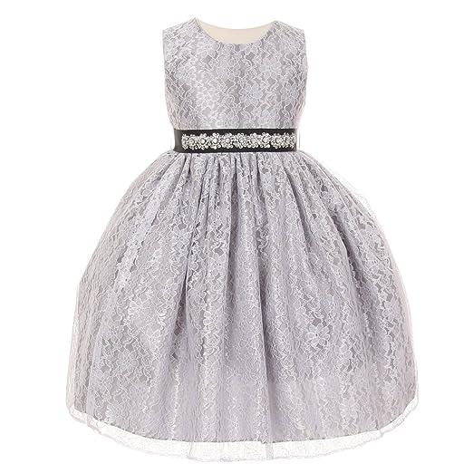 Amazon Cinderella Couture Girls Silver Lace Taffeta Jeweled
