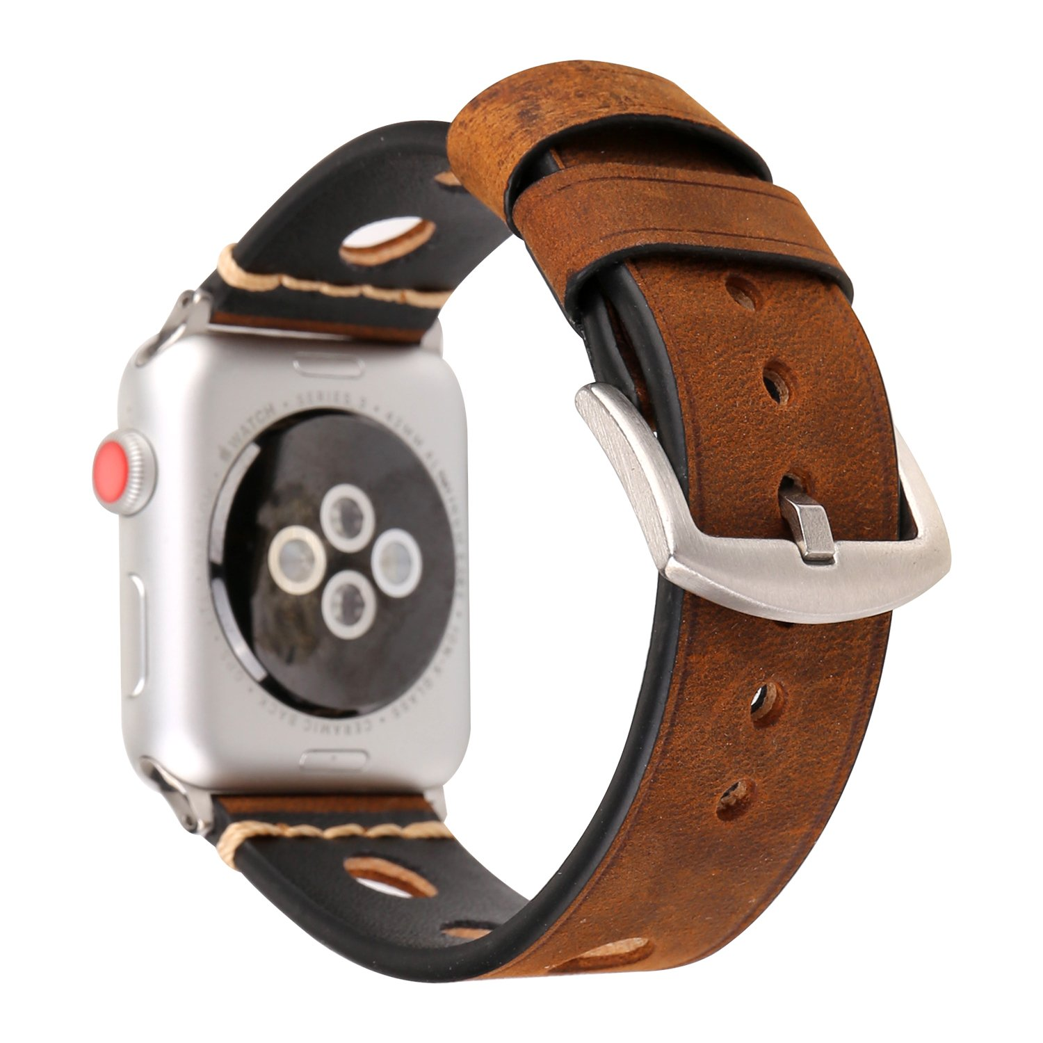 38mm Genuine Leather Strap d for Apple Watch Series 3 Series 2 Series 1 Sport and Edition, Brown
