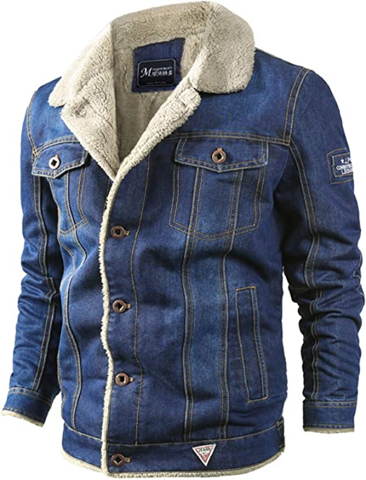 デニムジャケット 裏起毛 メンズ 冬 カジュアル 厚手アウター m-6xl 長袖 大きいサイズ ジャケット ボタン式 ファー ミリタリー ブルゾン お洒落 無地 Gジャン 冬服 中綿 ボアジャケット ブルー