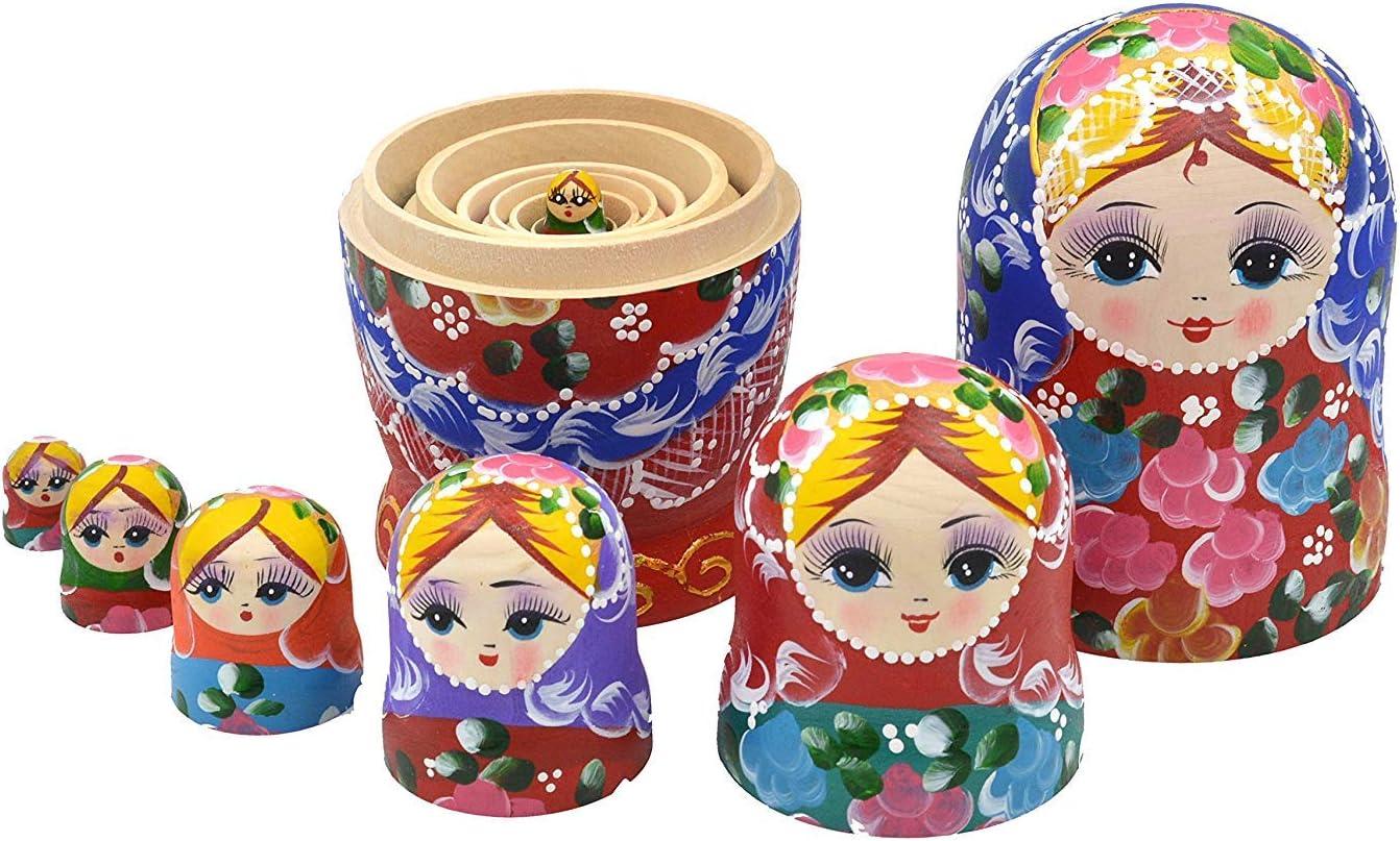 Colorful F.Dorla 7pcs Handmade Russian Nesting Doll Basswood Matryoshka Toy for Wedding Party Decor Wishing Dolls