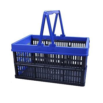 Cesta de la compra, de plástico, plegable, con asa, 16 l: Amazon.es: Hogar