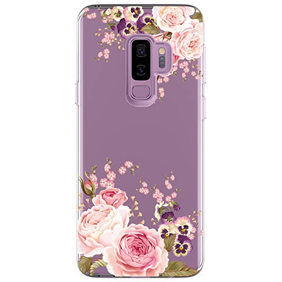 info for afc93 03255 Galaxy S9 Plus (S9+) Case, JAHOLAN Girl Floral Clear TPU Soft Bumper Slim  Flexible Silicone Cover Phone Case for Samsung Galaxy S9 Plus - Rose Flower