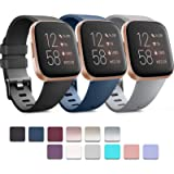 Pack 3 Soft Silicone Bands for Fitbit Versa 2 / Fitbit Versa/Fitbit Versa Lite Classic Adjustable Sport Bands for Women…