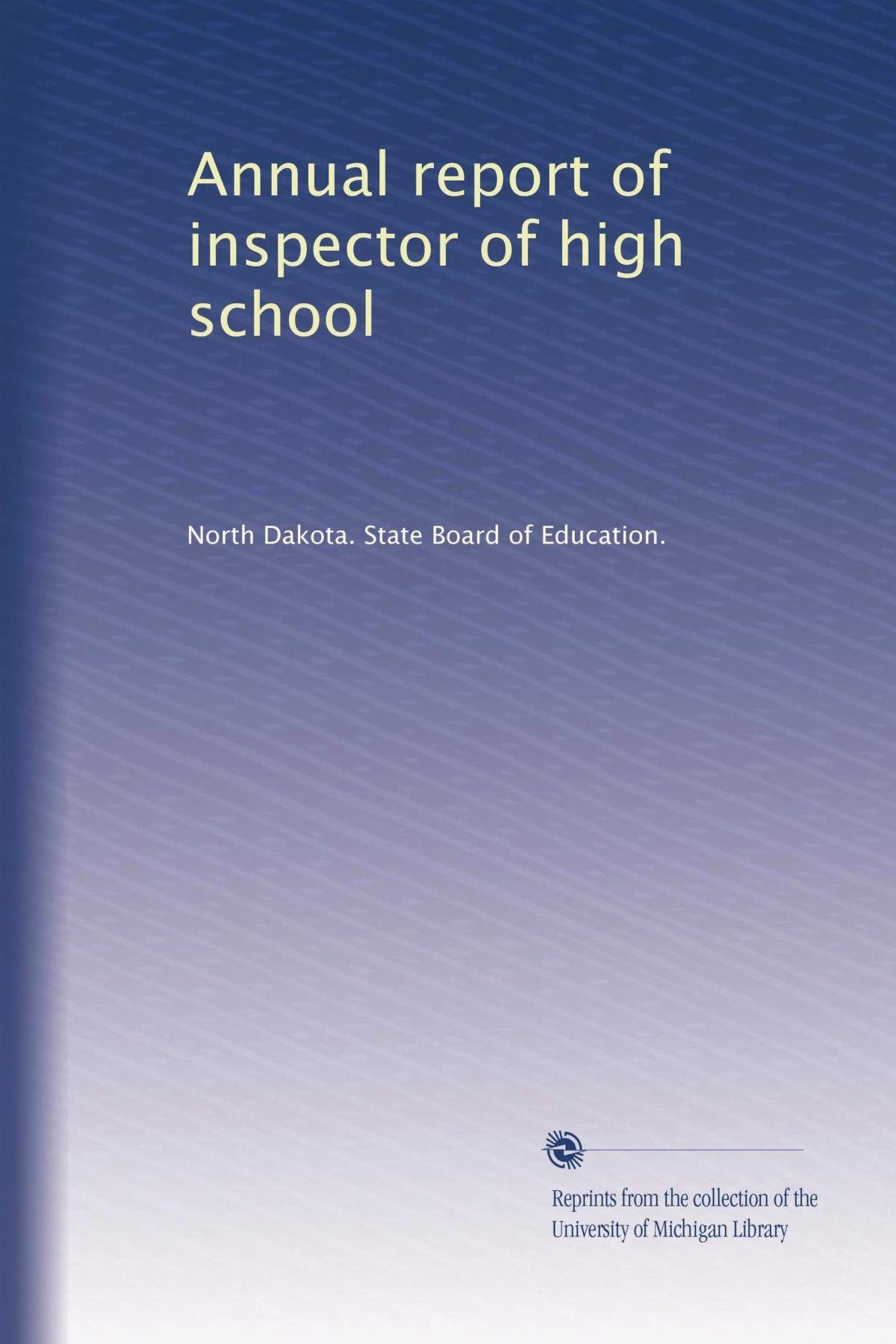 Download Annual report of inspector of high school ebook
