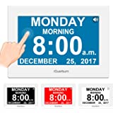 """iGuerburn Talking Day Clock 8"""" Large Display with Touchscreen for Dementia, Seniors, Alzheimer's, Blinds, Elderly, Visually Impaired, Digital Calendar with Date and Time, 8 Alarms, Manual Dim"""