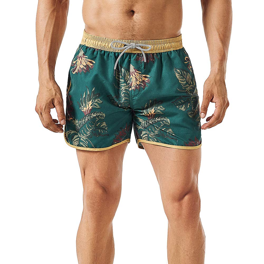 MaaMgic Mens 5'' 70s 80s 90s Floral Short Vintage Swim Trunks Quick Dry Bathing Suits Swimming Shorts Swimsuits by MaaMgic