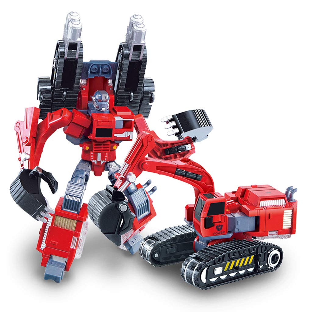 Siyushop Heroes Rescue Bots,5-in-1 Robot Model,Motorcycle, Fire Truck, Big Crane, Excavator, Ambulance, Combat Robot Model,Children's Deformation Toy (Color : Excavator)